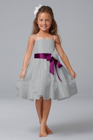 Silver and purple flower girl dress from Weddington Way