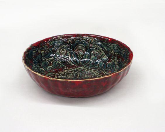 Keramik Schale Obst Schale Schussel Wohndeko Haus Dekor in rot und grün by Tanja Shpal von KunstLABor auf Etsy