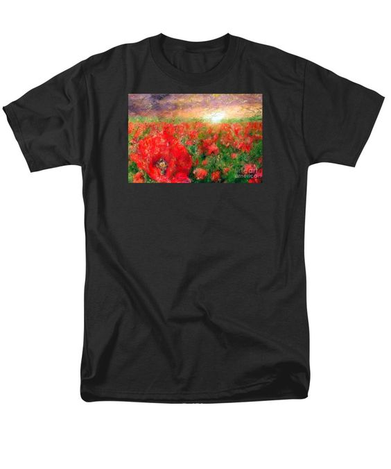 Men's T-Shirt (Regular Fit) - Abstract Landscape Of Red Poppies