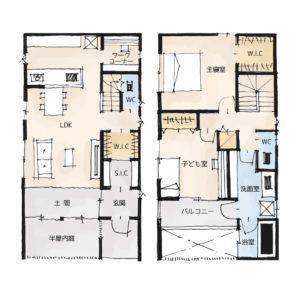 プライベートなお庭のある家の間取り 27坪 2ldk 2階建て 20坪