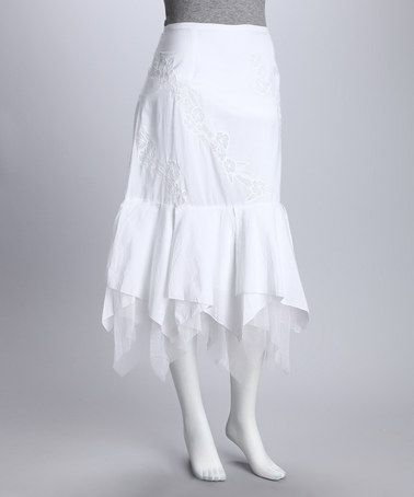 Take a look at this White Handkerchief Skirt by Elements of Elegance: Women's Apparel on #zulily today!