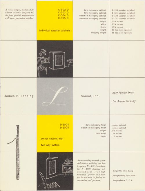 James B. Lansing Sound, Inc. (later known as JBL) literature by Alvin Lustig