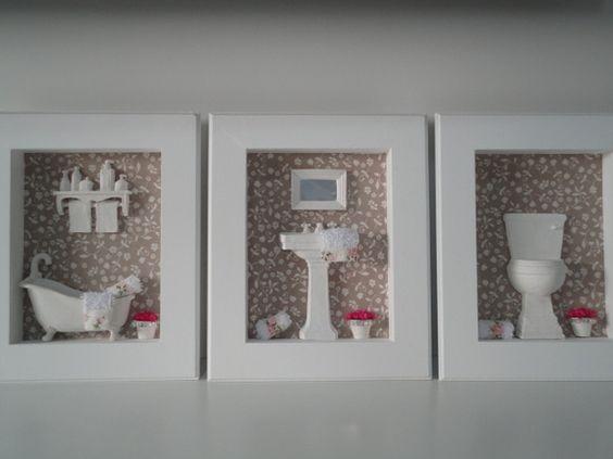 Trio de quadros para banheiro ou lavabo ems - Lavabos de resina ...
