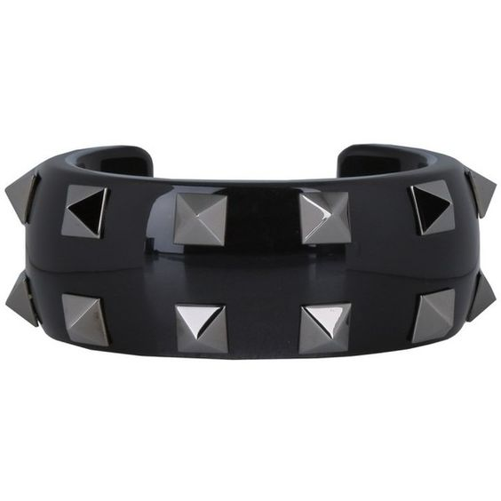 Valentino Rockstud Bracelet Acrylic Glass Black  in black, Jewellery ($440) ❤ liked on Polyvore featuring jewelry, bracelets, black, glass jewelry, glass bangles, valentino jewelry, acrylic jewelry and lucite bangle