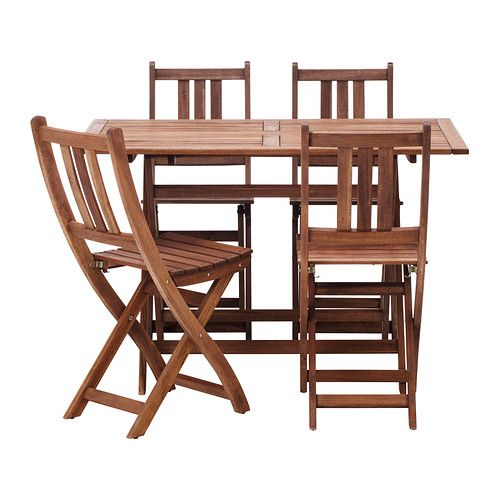 Table and chairs ikea outdoor and balconies on pinterest - Folding wooden table ikea ...