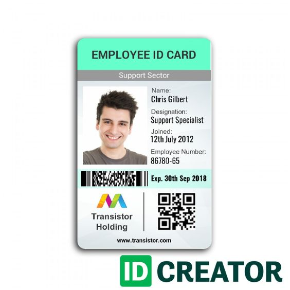 Employee Badge Template Vertical Id Card Ships Same Day Intended For Free Id Card Template Word 10 Professi Employee Id Card Id Card Template Employees Card