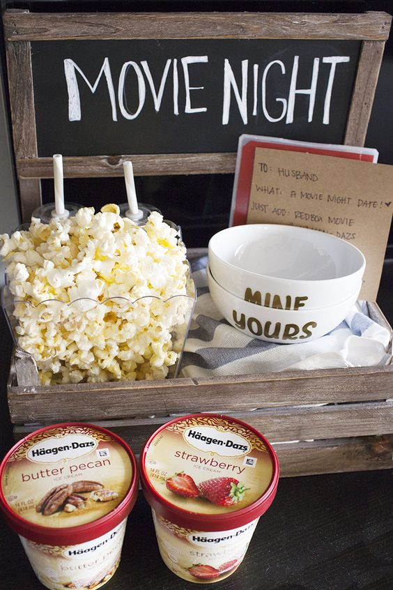 "This movie night date crate is the perfect way to have a date night at home while your little one is asleep! Share some popcorn, a movie and Häagen Dazs® ice cream in these DIY ""yours and mine"" ice cream bowls for a quiet date night at home.:"