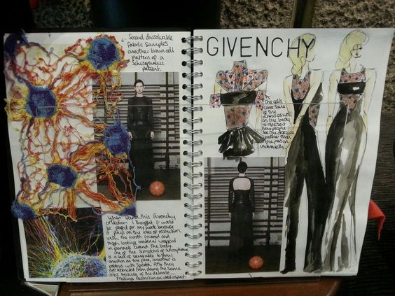 Wonderful sketchbooks from Winchester School of Art neuropsychiatry inspired fashion exhibition.