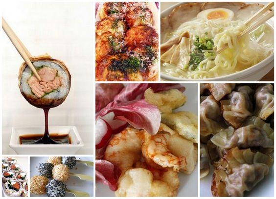 Menù della cena giapponese (non solo sushi) uramaki california (Polpa di granchio, mango, cetriolo), uramaki philadelphia (salmone affumicato e philadelphia), uramaki spice tuna (tonno piccante),sake tempura hosomaki (in tempura con salmone, fragola e salsa teryaki), nigiri salmone, nigiri gambero, tempura (verdura e gamberi), takoyaki (Palline al polipo), gyoza (Ravioli al vapore), ramen di soba e maiale arrostito, dango ai semi di sesamo serviti con gelato al cocco.
