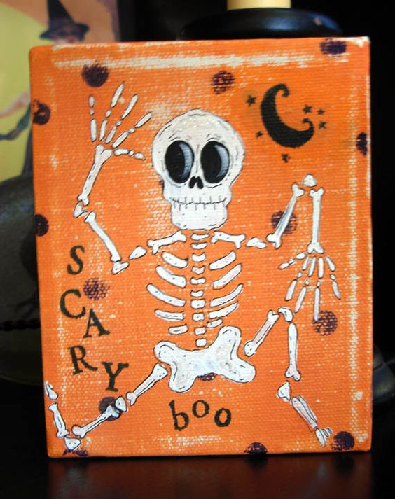 Scary Boo Skelly Mixed Media Painting by bywayofsalem on Etsy, $22.00