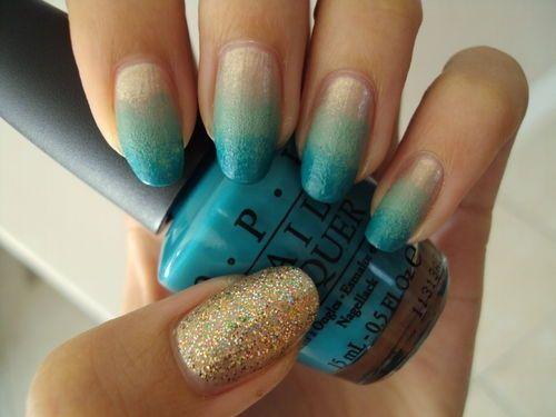Mermaid nails, ombre nails, ombre