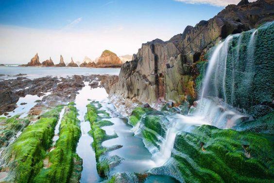 La Playa Asturiana De La Gueirua Naturephotos Waterfall Nature Photography Northern Spain