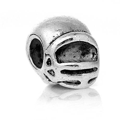Sports Helmet Charm Bead for European Snake Chain Charm Bracelet