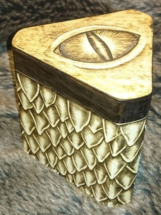 LARGE Dragon scale Wooden Trinket / Keepsake / Rune by TheLootLair