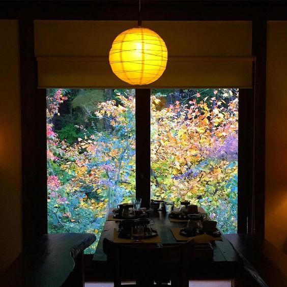 マスター自ら古民家を移築した、人里離れた秘境的喫茶店。窓から見える紅葉も綺麗
