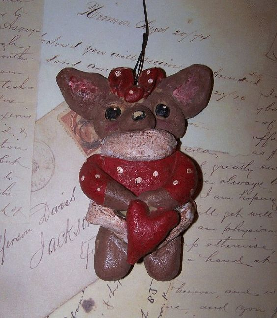 Folk Art Vintage Primitive Chihuahua Dog by DollThreadsandClay, $19.99