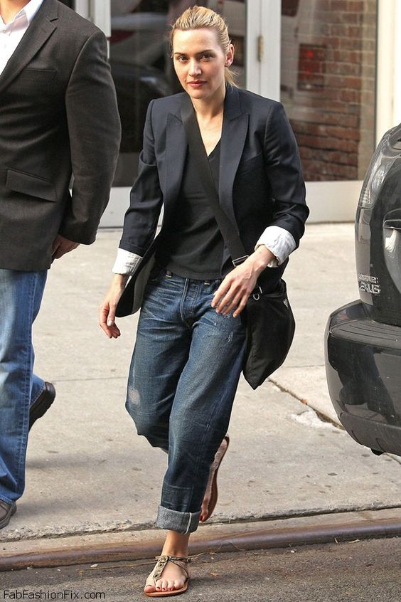 Kate Winslet street style with boyfriend jeans