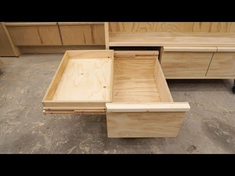 Double Deck Drawers On Wooden Full Extension Slides Youtube Drawer Slides Diy Wood Drawer Slides Woodworking Diy Furniture