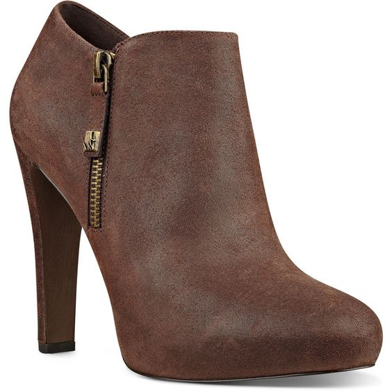 Nine West Binnie Almond Toe Booties (190 BRL) ❤ liked on Polyvore featuring shoes, boots, ankle booties, heels, booties, dark brown leather, leather boots, high heel ankle booties, heeled booties and leather ankle booties