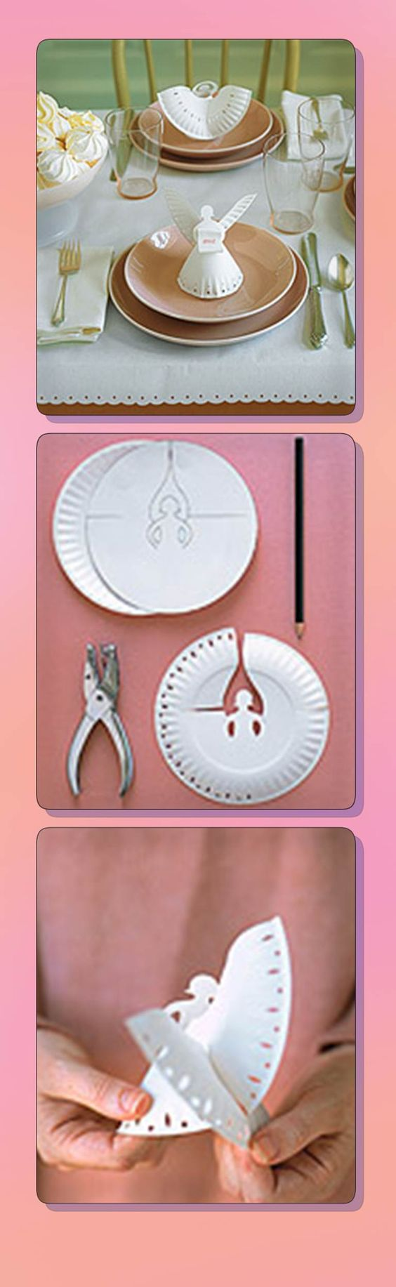 Love. This. DIY angel place settings made from paper plates....I'd use a more elaborate plate or scrapbook paper template...gorgeousness!!: