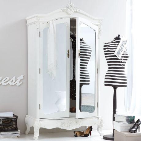 Kleiderschrank mit Spiegel, Barock-Stil, Kleiderstange, MDF, Tannenholz…