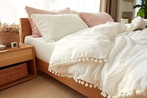 Tannicoor Pom Fringe Duvet Cover Set 2 Piece Natural Ultra Sofe Color Washed Cotton Bedding Set Moder Geometric Bedding Duvet Cover Sets Cotton Bedding Sets