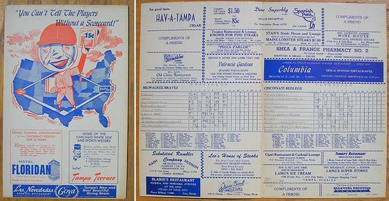 Braves v Redlegs 1958 Baseball Scorecards Pinterest - baseball scoresheet