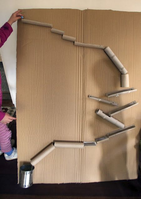 Cardboard tube marble run my students make these with a for Recycling toilet paper tubes