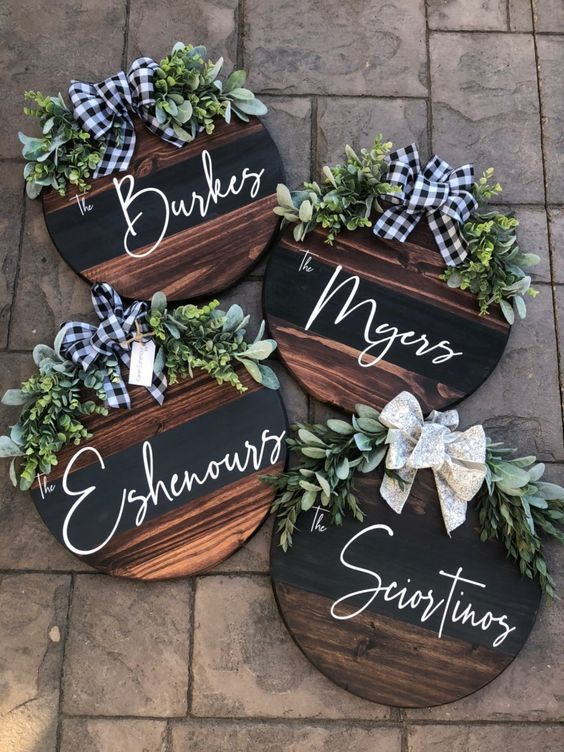 Handmade Welcome for Door Welcome Sign for Burlap Blooms/' Wreaths Wreath Decor Gray Stain