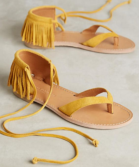 Marigold Suede Thong Sandals with Fringed Heel