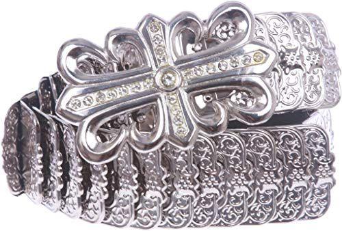 MONIQUE Women Rhinestone Silver Studs Fleur De Lis Genuine Leather 1.5 Belt