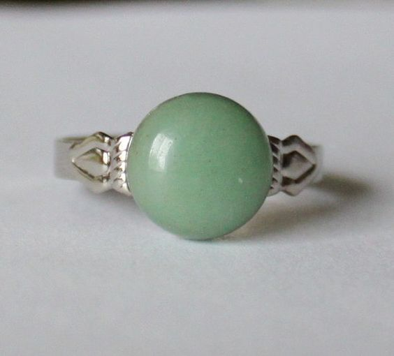 10mm Natural Green Aventurine Ring Green Gem Stone by Pearlland88, $12.00