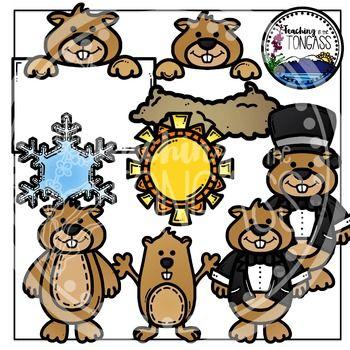 Groundhog Day Clipart Bundle | Copos de nieve, Día de la marmota y Sol