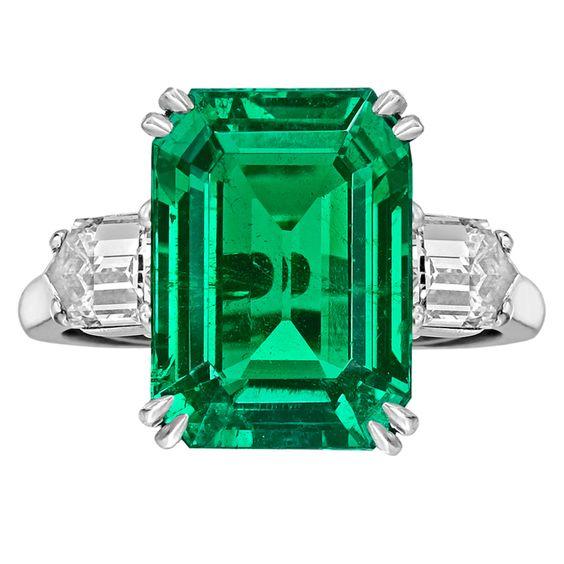 VAN CLEEF & ARPELS Colombian Emerald-Cut Emerald & Diamond Ring. 8.20 carat emerald and 1.10 tcw diamonds, circa 2003