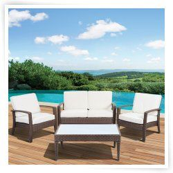 Atlantic New Hampshire All-Weather Wicker Deluxe Conversation Set - Seats 4