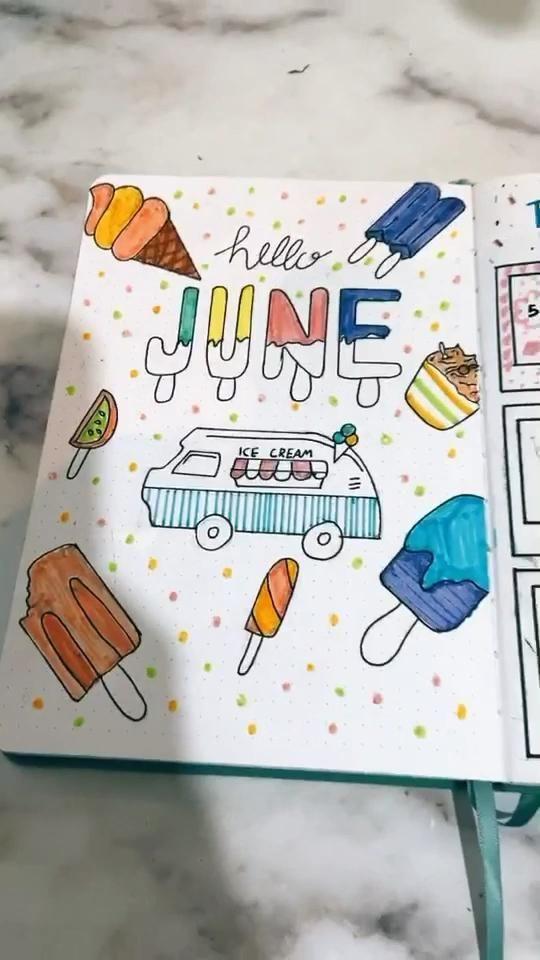 Bullet Journal June Cover Ice Cream Theme Tiktok 35 December 2020 In 2021 Bullet Journal Cover Ideas Bullet Journal June Bullet Journal Books