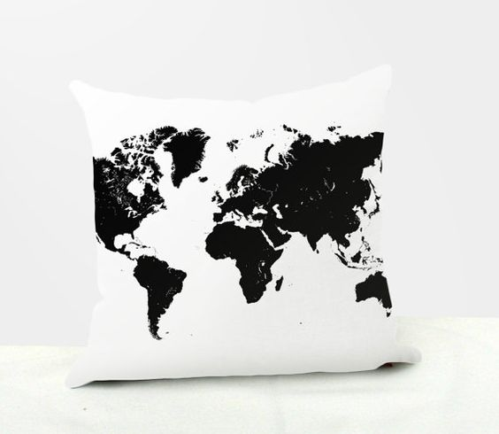 Black and White World Map Trendy Decorative by AllAboutGlitter21, $14.95