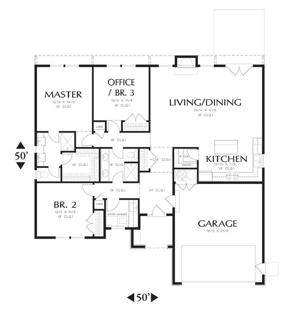 Main Floor Plan of Mascord Plan 1161ES - The Hoover - Eco design at its finest - Efficient without compromise.