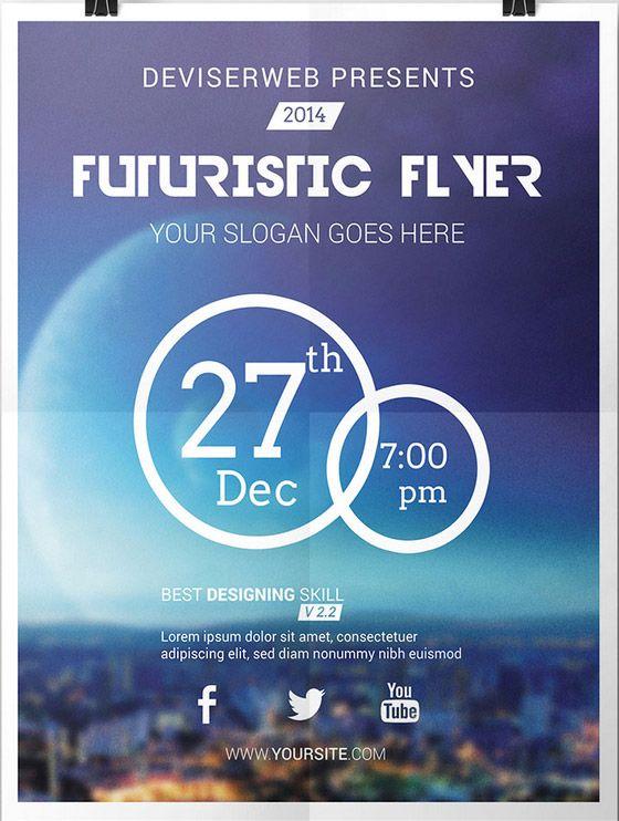 Free Futuristic Party Flyer Template - http://www.freepsdflyer.com ...