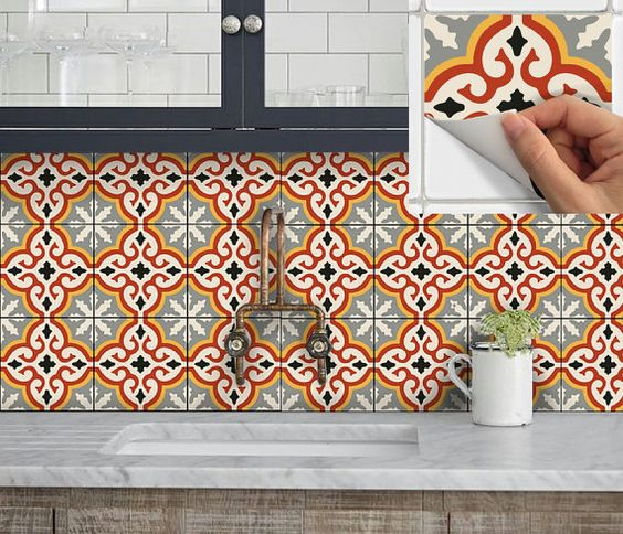 Wall tiles vinyl decals and stickers on pinterest for Orange peel and stick wallpaper