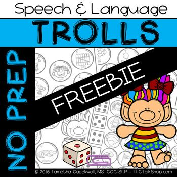 Here is a FREE sample of my Trolls No Prep Speech  Language Pack
