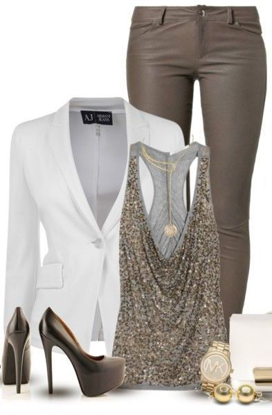 white and gold blazer drape tank skinnies and pumps: