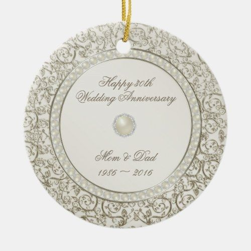 30th Wedding Anniversary Pearl Photo Keepsake Ornament Zazzle Com Wedding Anniversary Keepsake Wedding Anniversary Keepsake Ornaments