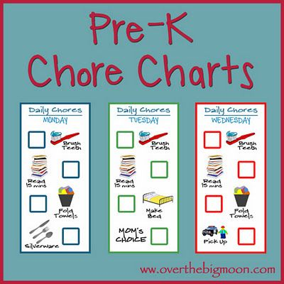 Simple daily chores charts to help your Pre-K aged kid(s) learn the routine of helping and having chores!  Available completed or blank as a psd or pdf file.