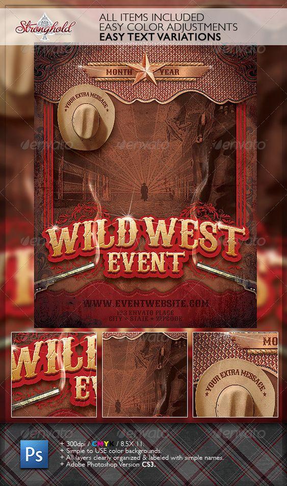 Wild West Gunslinger Flyer Poster Template u2014 Photoshop PSD - fun poster templates