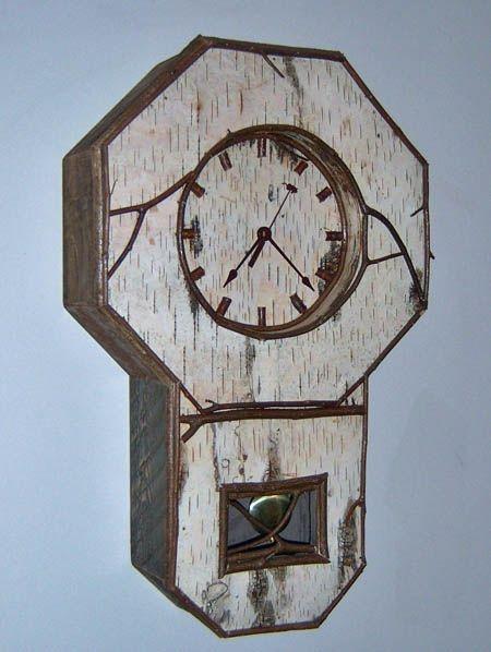 birch bark wall clock 16 quot w x 25 quot h x 5 quot d custom sizes available birch bark rustic designs