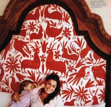 DIY upholstered Otomi headboard: Mexican Textile, Mexican Otomi, Otomi Textile, Fabric Headboards, Upholstered Headboards, Upholstery Fabric, Huge Headboard