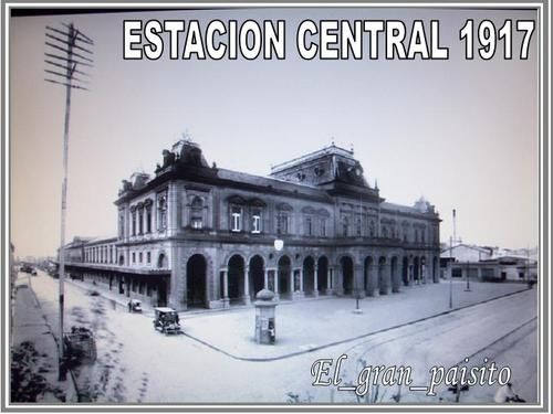 Central Station in 1917, URUGUAY CENTRAL RAILWAY COMPANY LTDA.  BUILT BY ENGINEER LUIGI ANDREONI between 1893 and 1897. Shortly after it was acquired by the state, and in 1955 was renamed CENTRAL STATION