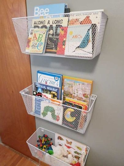 Mesh bins can be easily anchored to the wall and used in so many ways to organize a variety of things.
