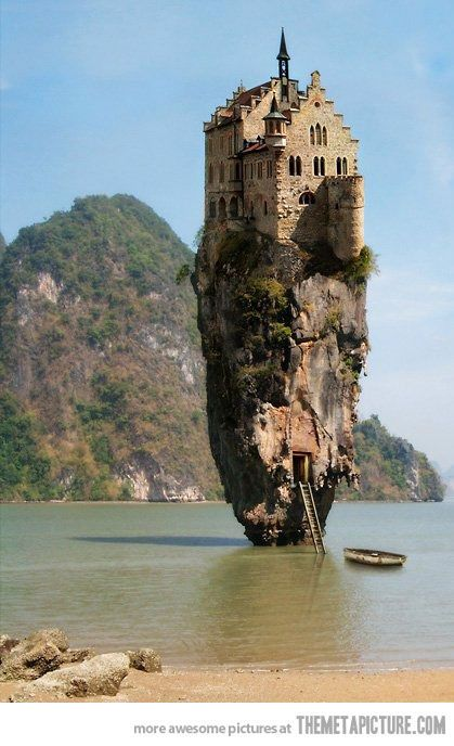 funny castle above tall rock sea